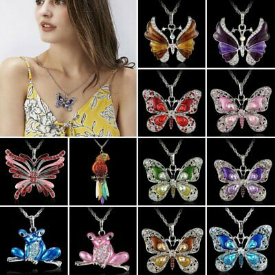 Fashion White Gold Plated Flower Pendant Necklace Crystal Sweater Chain Gift Hot