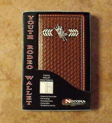 Nocona Basket Weave With Bull Rider Youth Rodeo Wallet