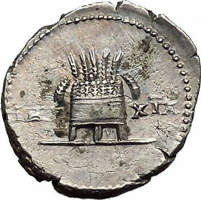 VESPASIAN 77AD Rome Modius Grain Ears Ancient Silver Roman Denarius Coin i43647