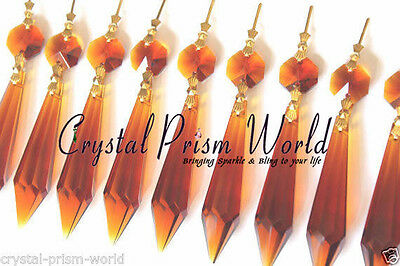 10 LARGE AMBER CHANDELIER GLASS CRYSTALS LAMP PRISMS PARTS HANGING DROPS