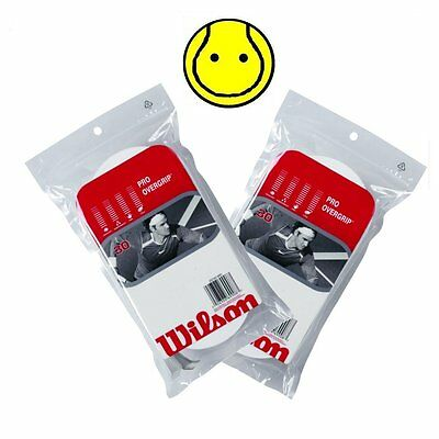 2 x Wilson Pro Overgrip Comfort 30 Pack : White - Total 60 Over grips Tennis