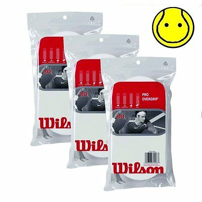 3 x Wilson Pro Overgrip Comfort 30 Pack: White - Total 90 Over grips Tennis