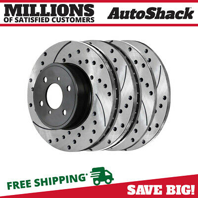 [Front + Rear] Full Set of 4 Performance Drilled and Slotted Brake Rotors
