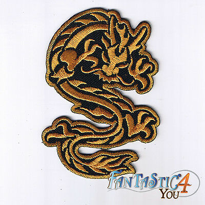 GOLD CHINESE DRAGON SHAOLIN KUNG FU MARTIAL ART APPLIQUE PLAIN IRON ON PATCHES