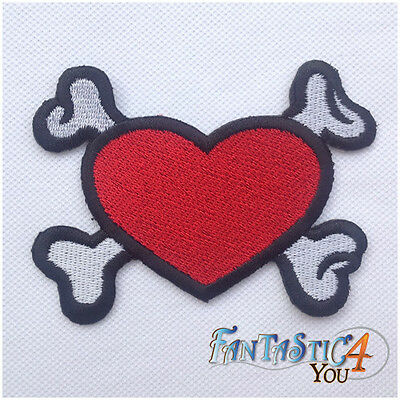 RED HEART SKELETON BONE SKULL NEW HIPPIE STYLE APPLIQUE PLAIN IRON ON PATCHES