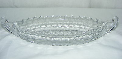 """Vintage American Fostoria Clear Oval 2 Handled 12"""" Large Boat"""