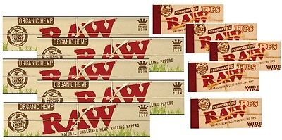 10X RAW Organic Hemp King Size Slim Cigarette Rolling Papers + 5 packs Wide Tips