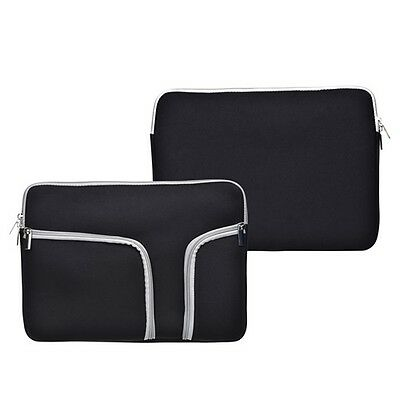 "BLACK Zipper Sleeve Bag with Pockets for Macbook Air 11""/ Notebook/ Chromebook"