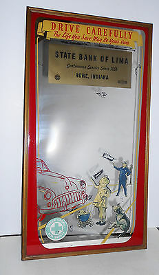 "Original Advertising  Mirror 1941 State Bank Of Lima ""drive Carefully"" Fdic"