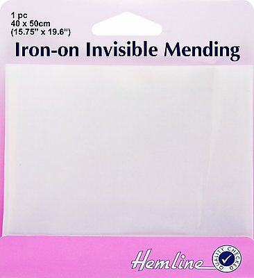 Iron-On Invisible Mending by Hemline Invisible Repair Patch 40cm x 50cm