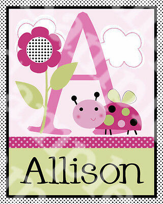 """Personalized """"Lil Ladybug and Flower"""" Name 8x10 Art Print So Cute!!"""