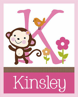 "Personalized Unframed ""Jungle Jill/ Monkey Girl"" Name 8x10 Art Print So Cute!!"