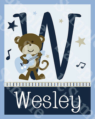 "Personalized ""Rockstar Monkey/Rock and Roll/Guitar""  8x10 Art Print So Cute!!"