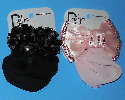 NEW Dasha BLACK RUFFLE ROSETTE  & PINK RHINESTONE Snood Bun Holders Girls