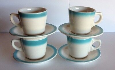Vintage Buffalo China Turquoise Blue 4 Cups & Saucers Restaurant Ware