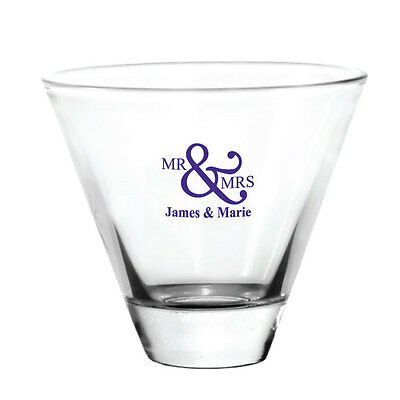 96 Personalized Stemless Martini Glasses Wedding Event Favors - great for Patios