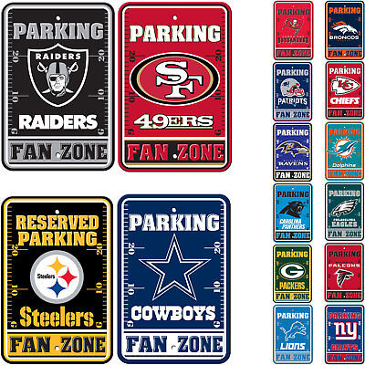 """New All NFL Teams Reserved Parking Fans Only Sign 12"""" x 18"""" Made in USA"""