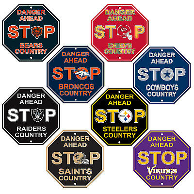 """New All NFL Teams Country Danger Ahead STOP Sign 12"""" x 12"""" Octagon Made in USA"""