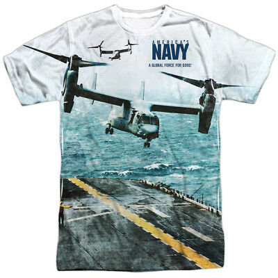 US Navy Armed Forces Retro Aircraft Carrier Adult 2-Sided Print T-Shirt