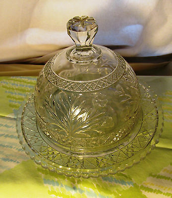 Antique EAPG Thistle Daisy Flower Pattern Victorian 1890s Crystal Cheese Dish