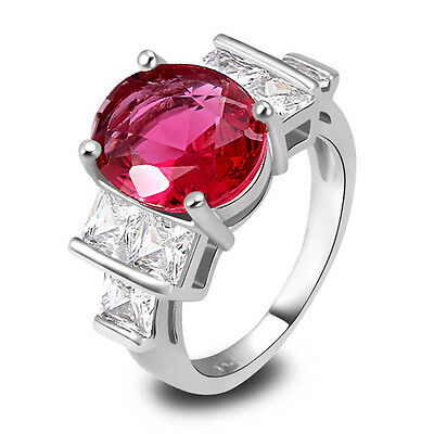Xmas Gift Oval Cut Ruby Spinel & White Topaz Gemstone Silver Ring Size 7 8 9 10