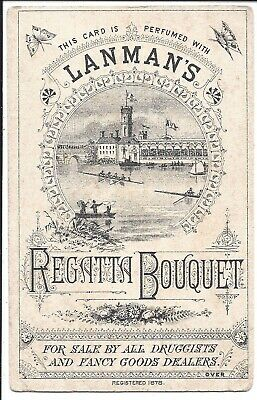 Rowing: Illustrated Blotting Paper Card for Lanman's Regatta Bouquet c1878
