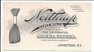 Illustrated Business Card, Northrup Glove Co's Mocha Gloves, Johnstown NY c1880s