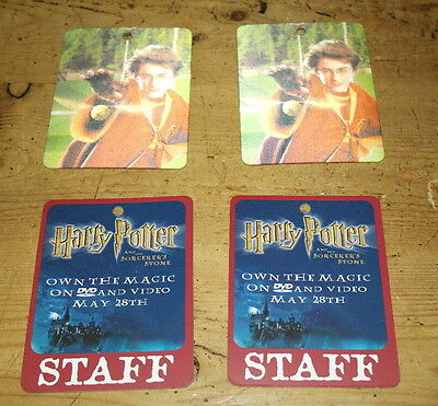 Lot OF 4 HARRY POTTER AND THE SORCERER'S STONE STAFF Pass BADGE Laminated!!!