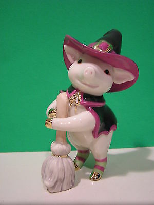 LENOX Halloween BEWITCHING PIG sculpture NEW in BOX with COA Witch