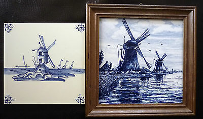 TWO DELFT POTTERY TILES BLUE & WHITE ONE FRAMED DUTCH SCENES WINDMILLS