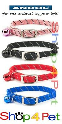 Ancol Reflective All Elastic Softweave Cat Collar with or without a PET ID TAG