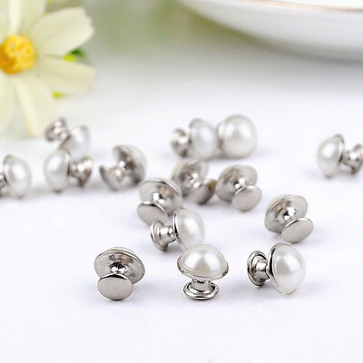DIY20pc 8mm accessories silver White beads rivets leather craft punk studs ZD37B