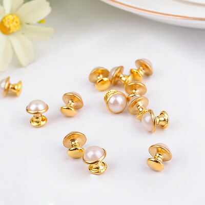 DIY20pc 7mm accessories golden White beads rivets leather craft punk studs ZD36B