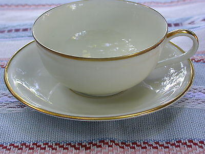 10 Pc Vintage Hutschenreuther TURVEL Off White Gold Rim Cup Saucer Plate Creamer