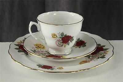 Vintage CROWN ROYAL China Tri Color Red Yellow Rose Floral 3PC Teacup Saucer Set
