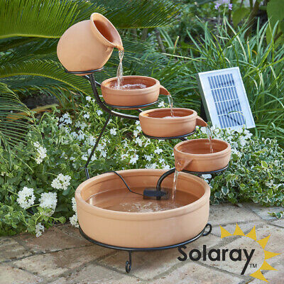 Jug Bowl Water Feature Fountain Solar Powered Cascade Terracotta Outdoor Garden