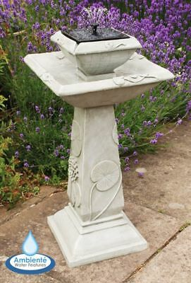 2 Tier Birdbath Water Feature Fountain Solar Powered Floral Pattern Stone Effect