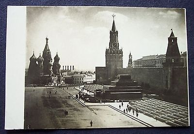 RPPC real photo postcard Red Square Moscow Russia Soviet Union 1934 St. Basil's
