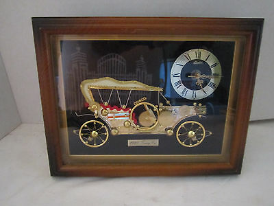 Vintage Framed Linden Clock Automobile Art Sculpture Picture, 1910 Touring Car