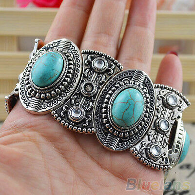 Classical Womens Gothic Retro Vintage Natural Turquoise Tibetan Silver Bracelet
