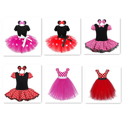 Toddler Girls Christmas Minnie Mouse Cosplay Costume Fancy Tutu Dress Headband