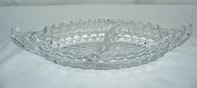 """Vintage American Fostoria Clear 12"""" Handled Boat Divided Relish Bowl"""