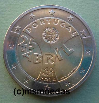 "Portugal 2 Euro Gedenkmünze 2014 ""Nelkenrevolution"" commemorative coin Euromünze"