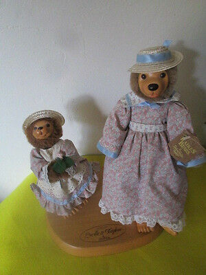 Raikes Bears Lucille & Daphne Mother's Day 1991 With Wooden Stand Free Shipping