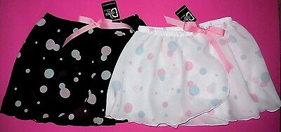 NWT Dasha Crepe Mock Wrap Skirt Dance Ballet Pull Up Girls Black or White 4461