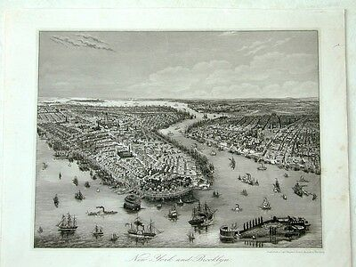 New York Brooklyn Amerika USA Original Stahlstich steelengraving 1853