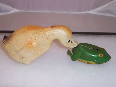 Vintage KT Celluloid Tin Wind Up Duck Chasing Frog Toy