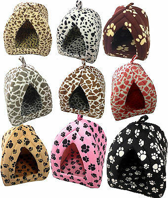 Cat dog Rabbit Pet Bed Igloo Thermal Soft Warm Winter Fleece Luxury Basket Hut
