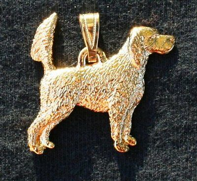 ENGLISH SETTER Tail Up Dog 24K Gold Plated Pewter Pendant Jewelry USA Made