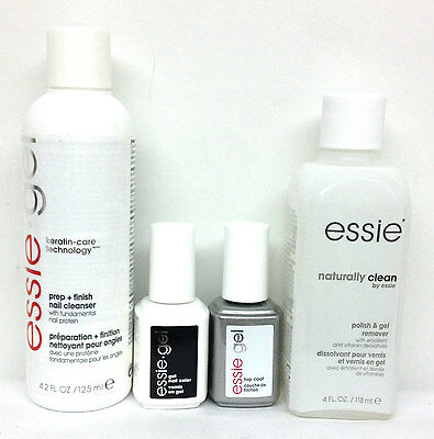 ESSIE GEL Nail Kit 4pc - Cleanser + Remover 4.2oz/125mL + Base + Top 0.42oz